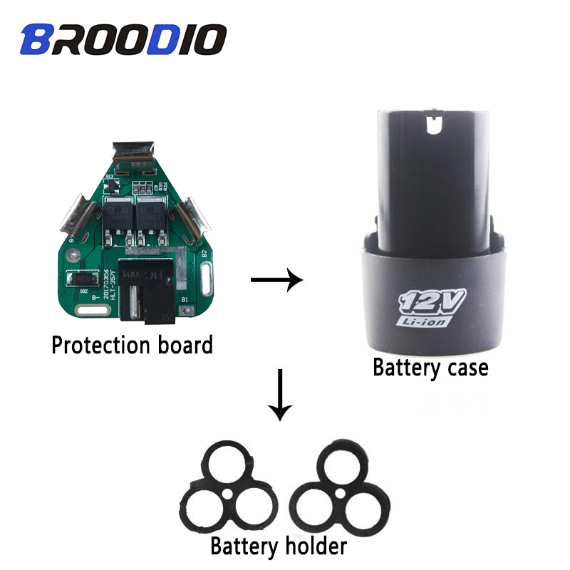 3S 12V DC Electric Tools Hand 18650 Lithium Drill Power Li-ion Battery Protection Board+Pack Case Shell Bracket PCB BMS Circuit