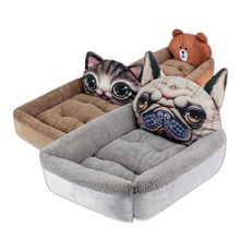 Dog Cat Bed Pet Mattress Winter House Warm Nest Soft Washable 3D Cartoon Printed Beds for Small Dogs Cats Products