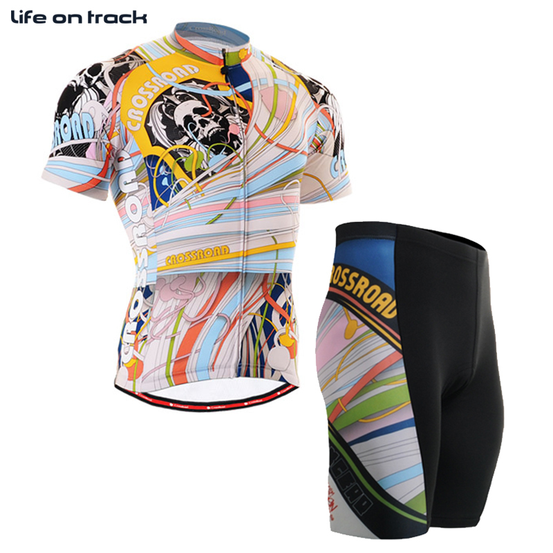 Life On Track Male Road Bike Clothing Sets Coloured Ribbon With Skull Strava Cycling Jer ...