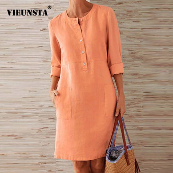 VIEUNSTA Autumn Cotton Linen Dress 2019 Fashion Button O-Neck Knee Party Dress Women Long Sleeve Pocket Solid Dresses Plus Size 1