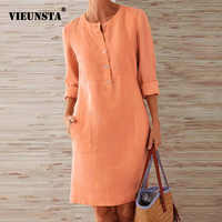 VIEUNSTA Autumn Cotton Linen Dress 2019 Fashion Button O-Neck Knee Party Dress Women Long Sleeve Pocket Solid Dresses Plus Size