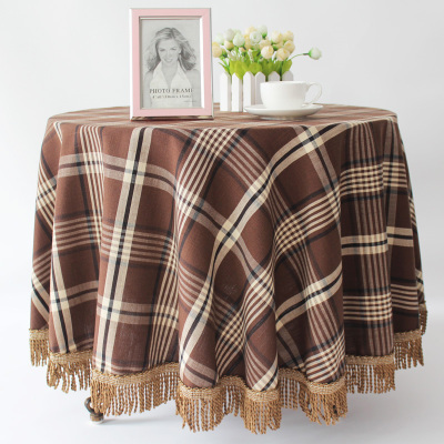 European style high grade cotton linen checkered round table cloth style garden table cloth ...