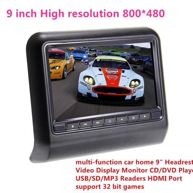"""De alta resolución de 800*480 del coche del hogar 9 """"Reposacabezas Monitor de Vídeo CD/DVD Reproductor de USB/SD MP3/MP4, soporte de 32 bits juegos, car styling"""