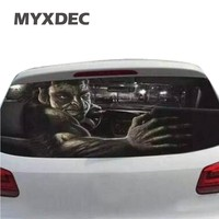 70cmX130cm Funny Car Rear Windshield Window Decoration Sticker Film Static Reflective Interior Terror Sticker Auto Car
