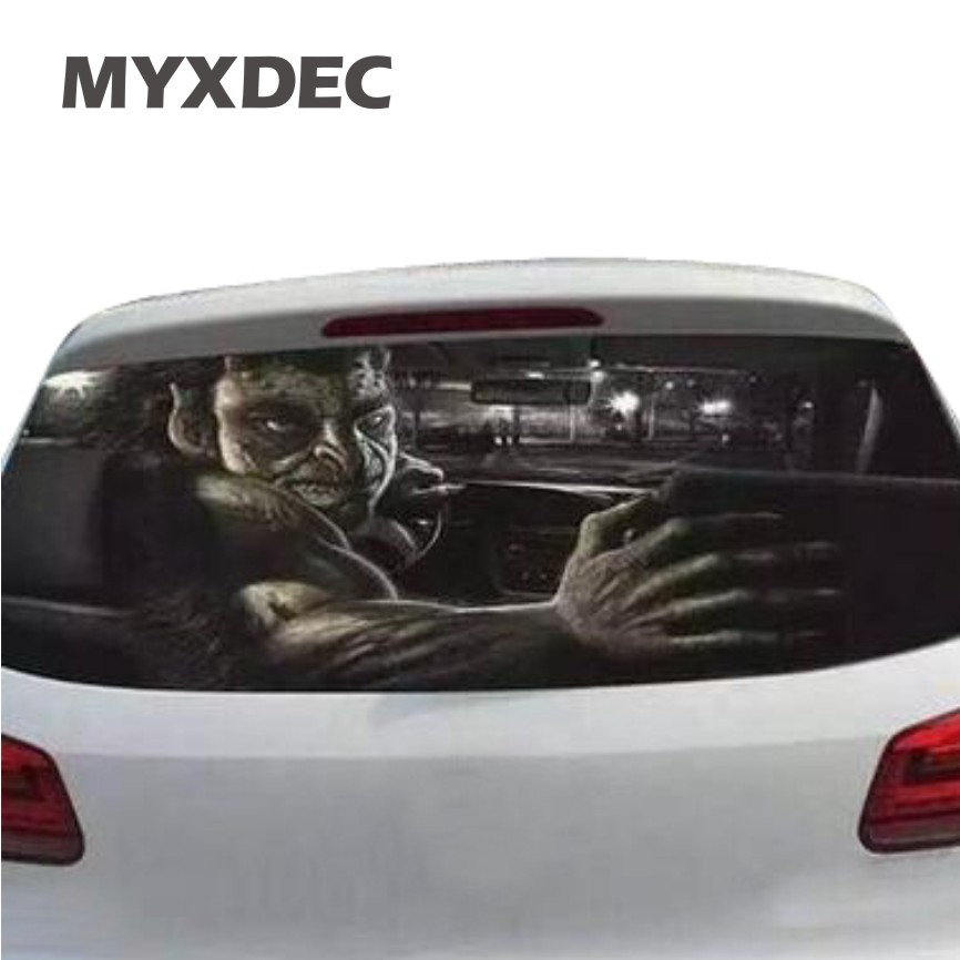 цена на 70cmX130cm Funny Car Rear Windshield Window Decoration Sticker Film Static Reflective Interior Terror Sticker Auto Car Styling