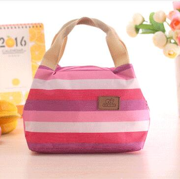 Fashion Stripe Canvas Mini Cooler Bag 1 Person Small Portable Insulated Lunch Bag