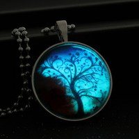 Tree Glowing Necklace Space Tree Of Life Necklaces Women Jewelry Art Photo Print Necklace Pendants Glow