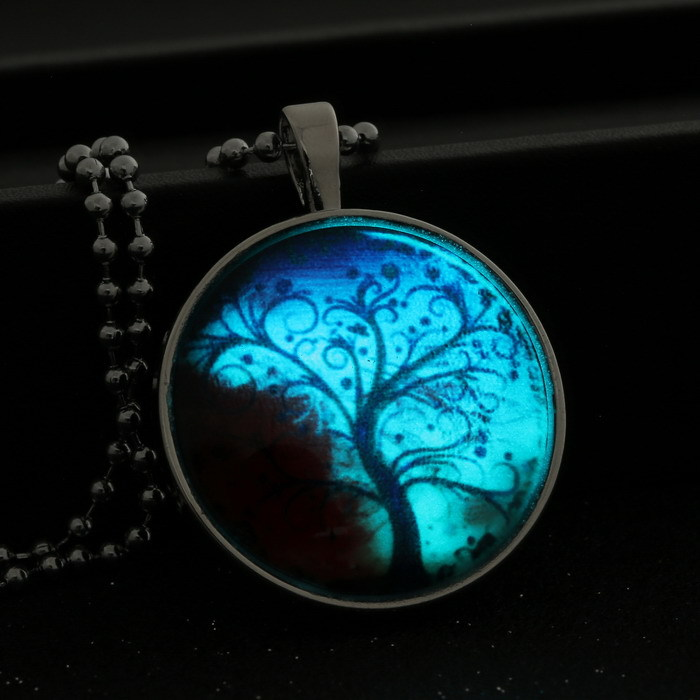 glass cabochon Space Tree of Life Necklaces Women Jewelry Art Photo Print  Necklace Pendants glow in the dark jewelry-in Pendant Necklaces from  Jewelry ...
