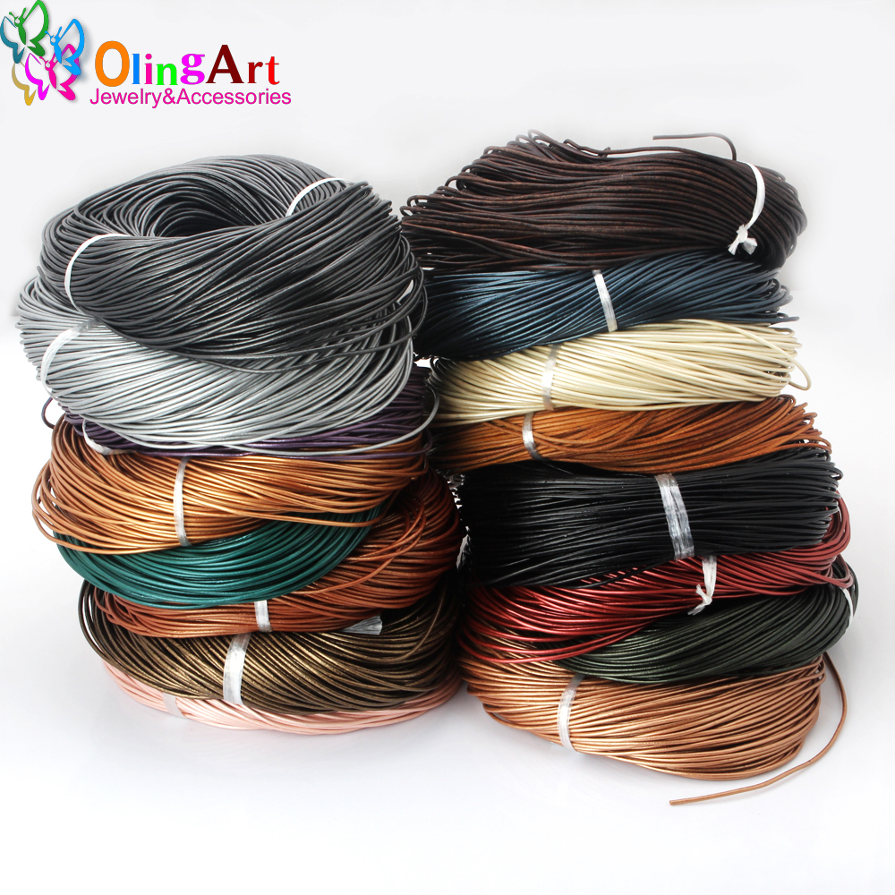 OlingArt 1.5/ 2.0/ 3.0/ 4.0mm Craft Pearl Color Round Leather Cord Wholesale Golden Silver DIY Necklace Bracelet Jewelry Making