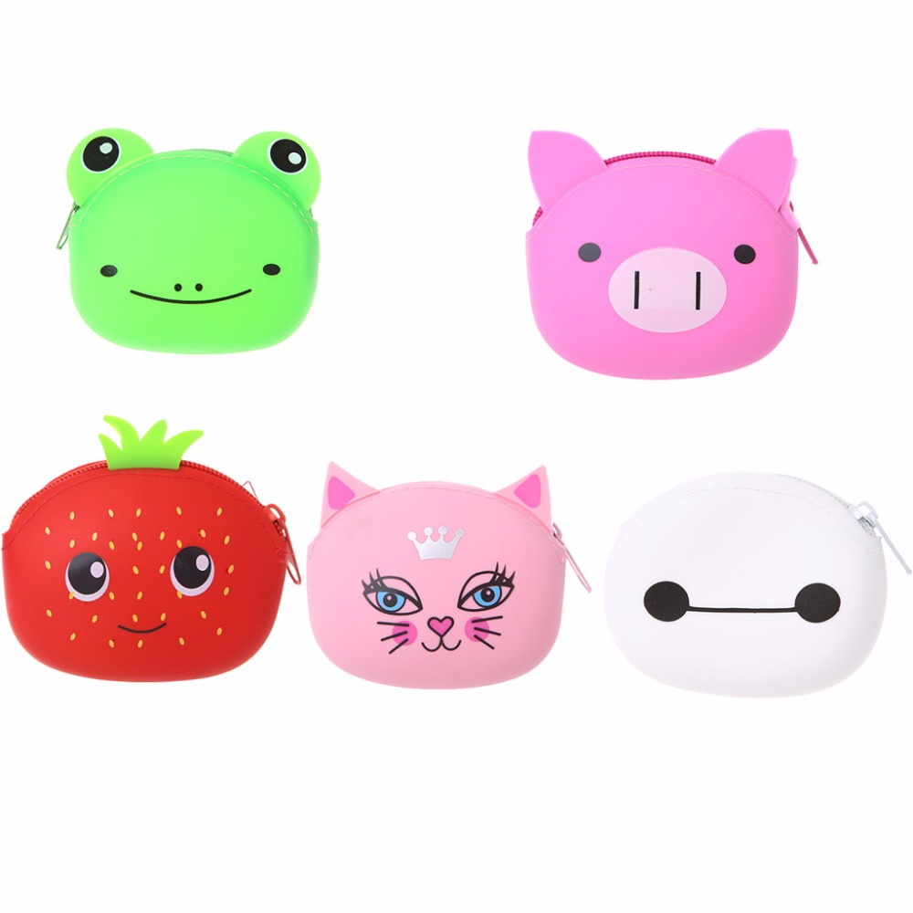 THINKTHENDO Casual Cute Silicone Cartoon Animal Zipper Mini Change Coin Purse Wallet Pouch Bag Case Children Purse gyd 2016 new silicone coin purse monederos pouch case change animal purse patterns o bag rectangle silicon bag gyd0006