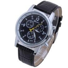 Женева Platinum Топ продавец Кожа PU Для мужчин часы мальчиков Для женщин Женева Стиль Бизнес модные наручные часы Reloj Para Кабальеро A155