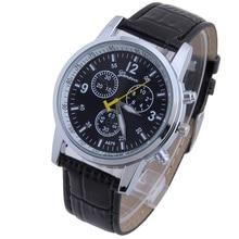 NUEVA Ginebra Pu Sub marca Taquímetro anillo Elegante de Cuero de LA PU reloj de Moda Reloj de pulsera de Reloj Para Caballero Muchacho de Los Hombres Del Borde De Plata hombre