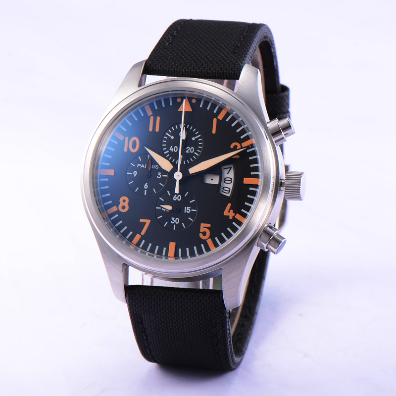 42MM Parnis Stainless Steel Watch Case Chronograph Quartz Movement Men s Wristwatch Black Strap Day Date