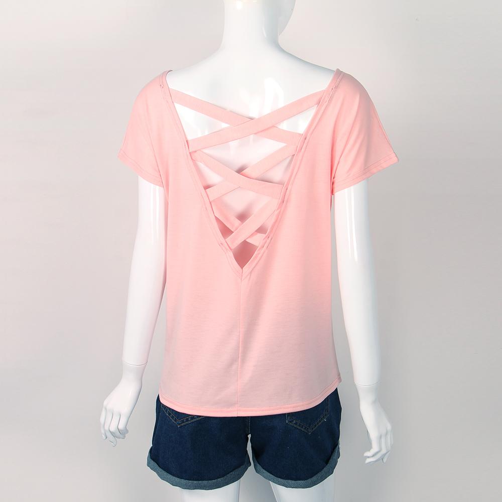 Women's Sexy Backless Hollow Bandage Punk Tee Shirt, Woman's Short Sleeve Summer T-Shirt 3