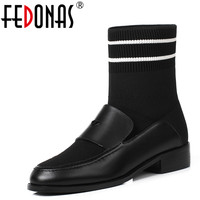 FEDONAS New Women Ankle Boots Autumn Winter Warm Genuine Leather High Heels Shoes Woman Casual Quality Square Toe Socks Boots