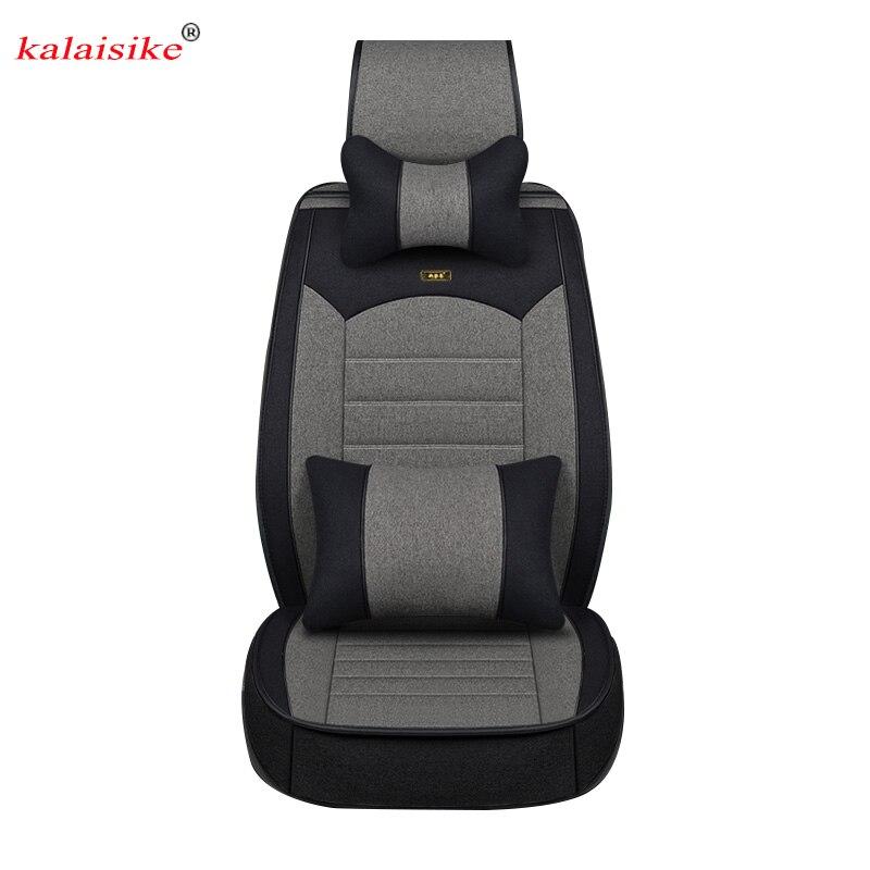 Kalaisike льняные универсальные чехлы для сидений автомобиля для Mitsubishi Все модели ASX outlander lancer pajero sport pajero dazzle автомобильный Стайлинг