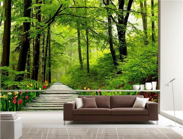 Custom Size 3d Wallpaper Photo For Living Room Mural Pure Fresh Nature Forest Tree Sticker