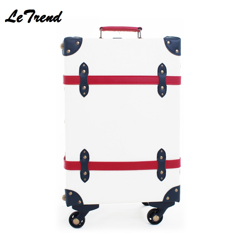 Quality Vintage Suitcase Wheels PP+PU Leather Rolling Luggage Spinner Women Retro Trolley 20 inch Cabin Travel Bag Men Carry On цена