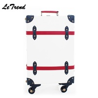 Quality Vintage Suitcase Wheels PP+PU Leather Rolling Luggage Spinner Women Retro Trolley 20 inch Cabin Travel Bag Men Carry On