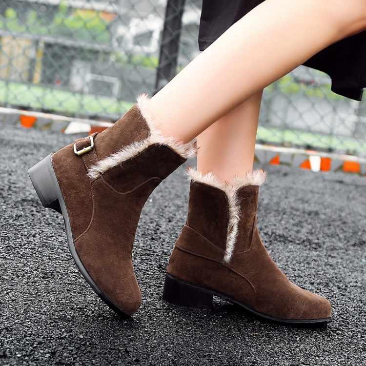 Большие размеры 11, 12, 13, 14, 15, европейский и американский тренд, сапоги с круглым носком на квадратном каблуке с пряжкой на ремешке
