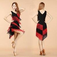 New Design Elegant Women Night Club Party Latin Dance Dress Ballroom Salsa Sequins Fringe Skirts Hot