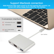 Hot USB-C USB 3.1 Cable USB-C Interface Male to HDMI Type-C Video Vga Converter HDMI Adapter Extension Cable for Projectors TV