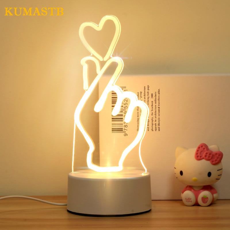 Bedside Nightlight Bedroom 3D Lamp Night Light Baby Feeding Bedroom Gesture LED Night Lamp Creative Birthday Gift For Children