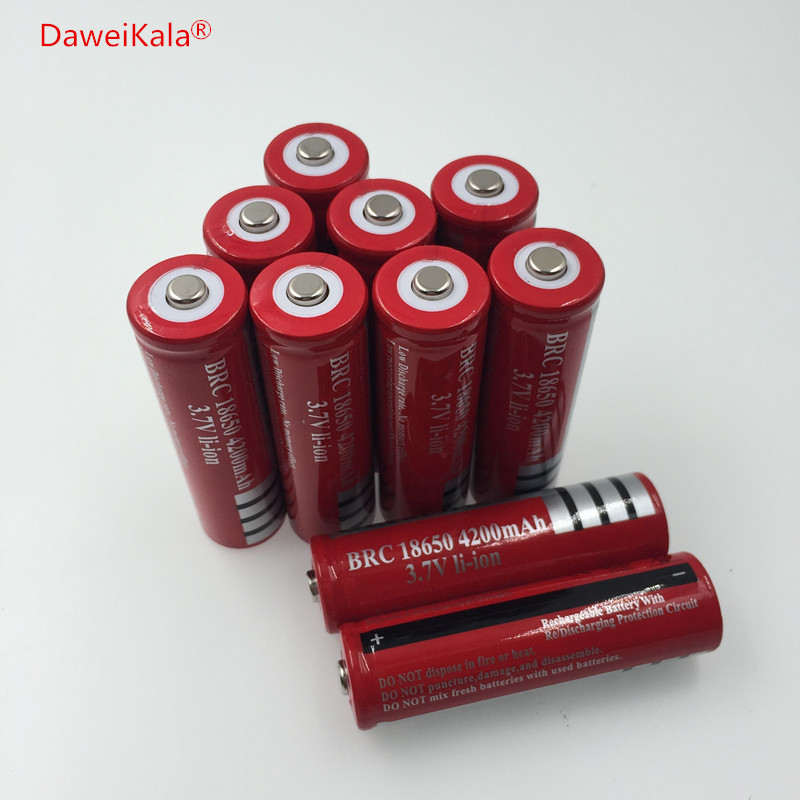 10pcs /lot 18650 rechargeable batteries 3.7v 4200 mAh Lithium li-ion battery for led Flashlight batery Free shipping with battery box 18650 li ion battery batteria rechargeable cells for lazer pointer strong beam torch toys 9900mah 3 7v
