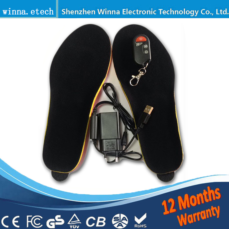 NEW  heating insoles shoes woman SOLES with Remote control insole Buy Direct From China Factory Foot keep Warm size 35-40# black