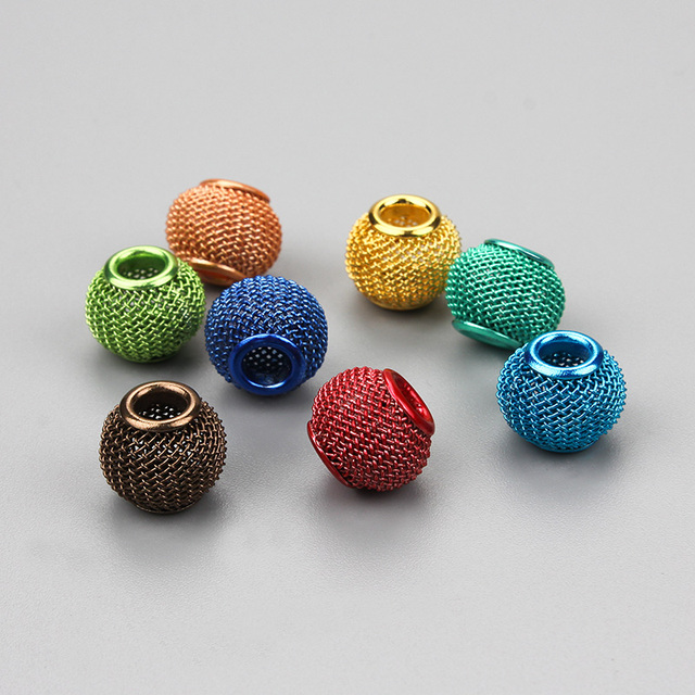 10 pcs/lot Mixed Color Alloy Metal Round Hollow Big Hole Beads DIY Accessories F