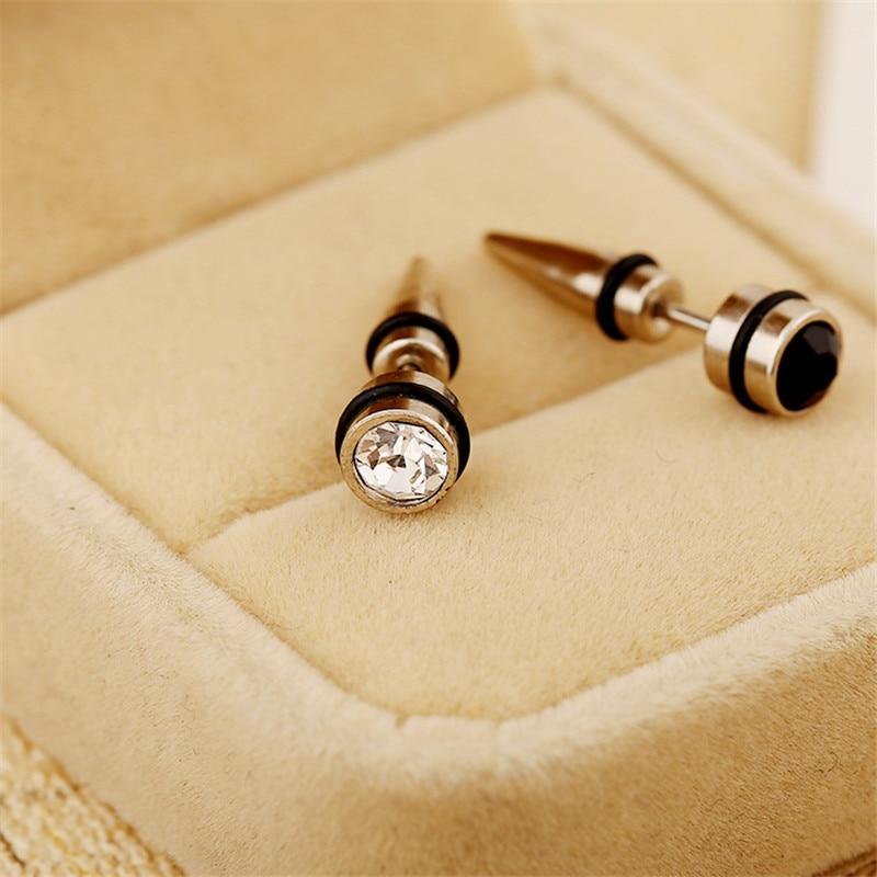 Stud-Earrings Charm Spike Punk Jewelry Cubic-Zircon Steel Titanium Fashion Women Gift