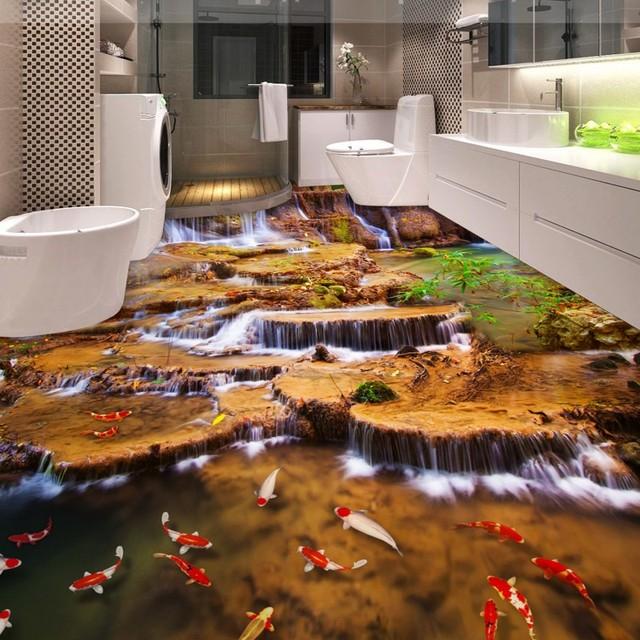 Free Shipping high quality Aroma Mountain Stream Bathroom studio Living Room 3D Floor wallpaper mural