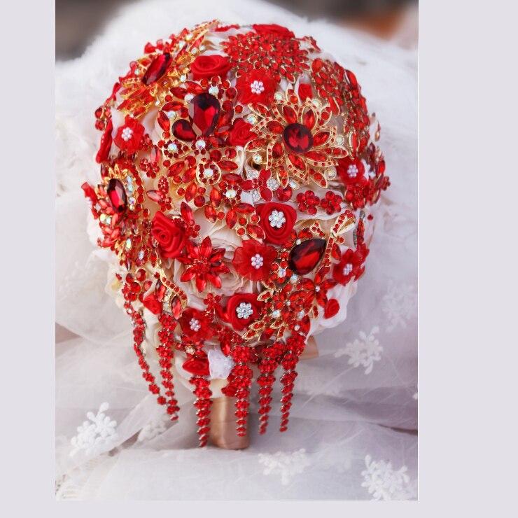 Bride Drop Brooch Bouquet Custom Made Wedding Red Jewelry Bride 's Bridal Bouquets Teardrop Tassel Holding Flowers
