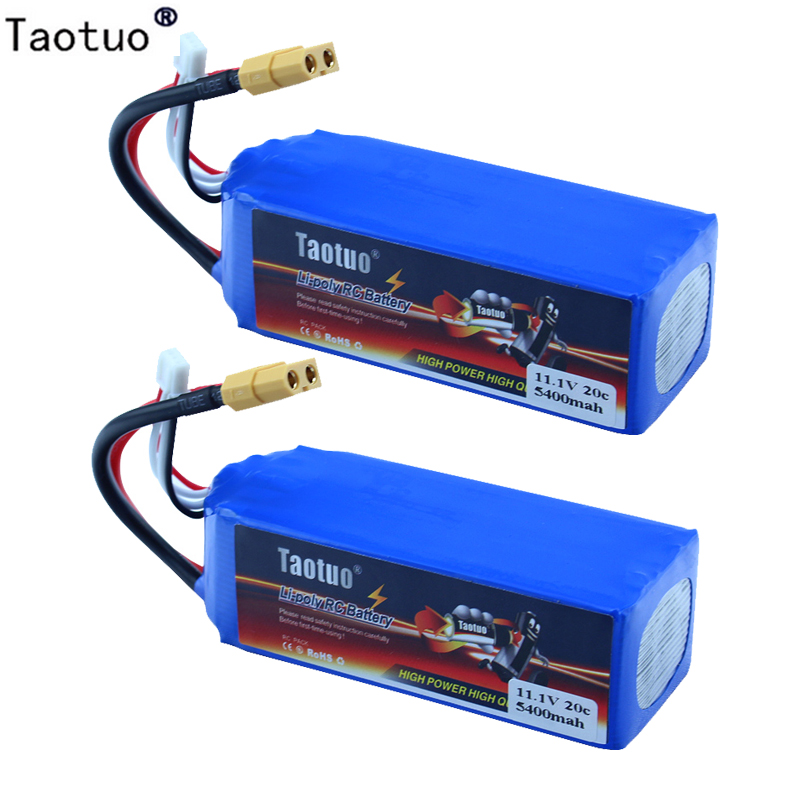 ФОТО 2pcs Taotuo Lipo Battery 11.1V 5400mAh 3S 20C XT60 For Wltoys V303 V393 CX-20 X380 Drone Helicopter Quadcopter Car Bateria Lipo