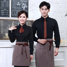 Long Sleeve Women Hotel Uniform Men Coffee Shop Waiter Uniform Fast-food Restaurant Waitress Uniform Cafe Chef Uniform for Women(China)