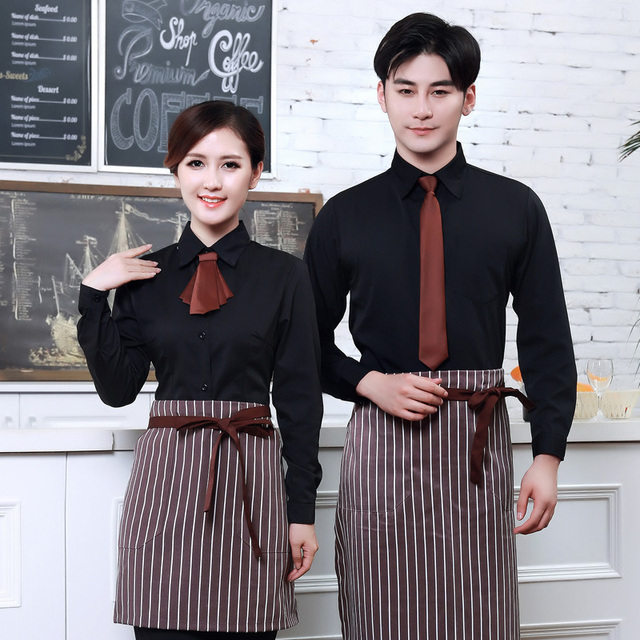 8715df28f3e Long Sleeve Women Hotel Uniform Men Coffee Shop Waiter Uniform Fast-food  Restaurant Waitress Uniform