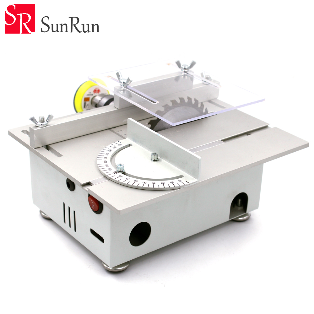 DIY Multi-function Miniature Table Saw Woodworking Sawing Saws Cutting Model Saw Cutting Machine Grinding/Polishing/Cutting mini multi function table saw bench drill grinding machine with 100w high power cutting machine tool accessories