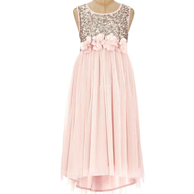 Fashion   Girls   Chiffon Sequins   Flower     Girl     Dress   Princess Pageant Sleeveless A-Line High-low Hem Wedding Party   Dresses