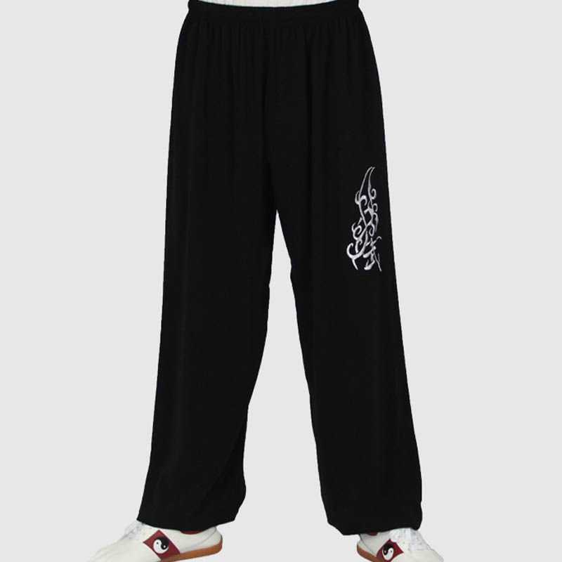 Black Color Loose Sports Trousers For Men Kung Fu Pants Chinese Style Tai Chi Kendo Male Martial Arts Sportswear Sport Clothing