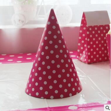 12pcs/lot Korean Style Kawaii Paper Birthday Hats Disposable Polka Dot Caps For Baby Kids Birthday Party Decoration Event Supply Refreshment Party Hats