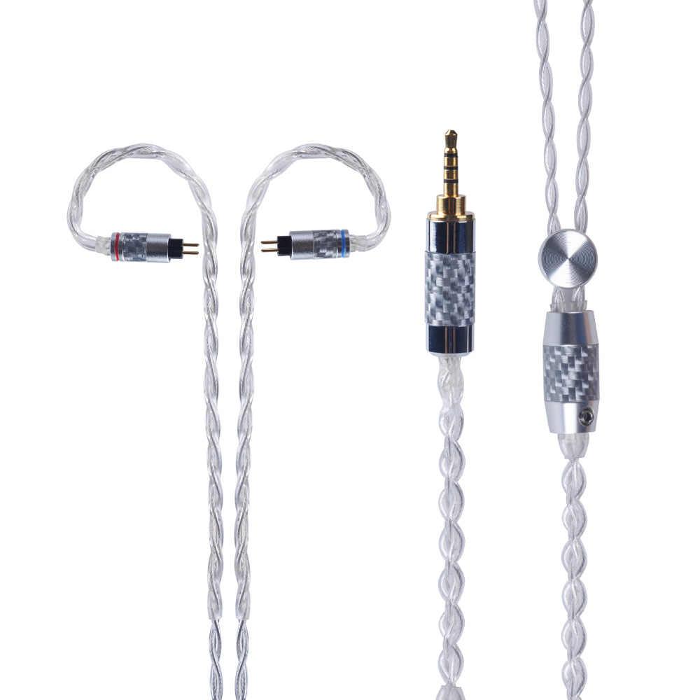 Yinyoo 4 Çekirdekli Saf Gümüş Kablo 2.5/3.5/4.4mm Dengeli Kulaklık Yükseltme Kablosu Ile MMCX/2Pin için ZS10 PRO AS10 AS12 A10/C12/C16