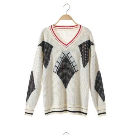 Tricoté Argyle Luxe Longues Chandail De Designer Manches Vêtements À Femme Casual Femmes Hiver Pulls 2018 Piste Jumper Diamant OxzXXq