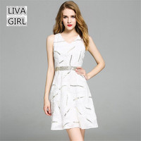 White High Waist A Line Dress 2017 Summer European Sequins V Neck Sleeveless Women Dresses Vestidos