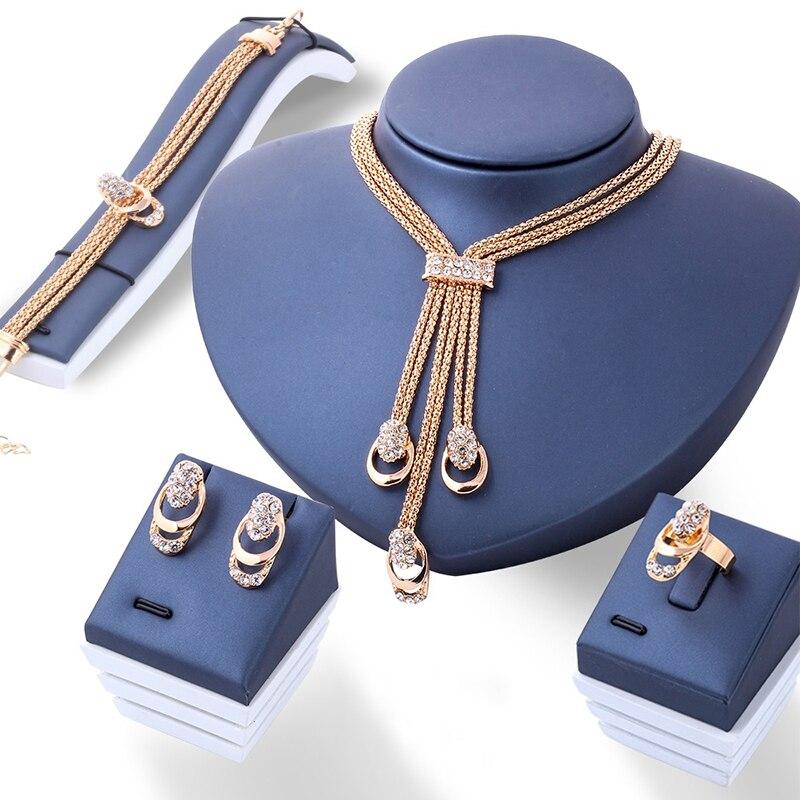 4Pcs/set Gold Crystal Necklace Bracelet Ring Earrings Fashion Jewelry Women Jewellery bijoux de mariage de dubai #88095