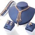 4Pcs/set Gold Plated Crystal Necklace Bracelet Ring Earrings Fashion Jewelry Women Jewellery bijoux de mariage de dubai #88095