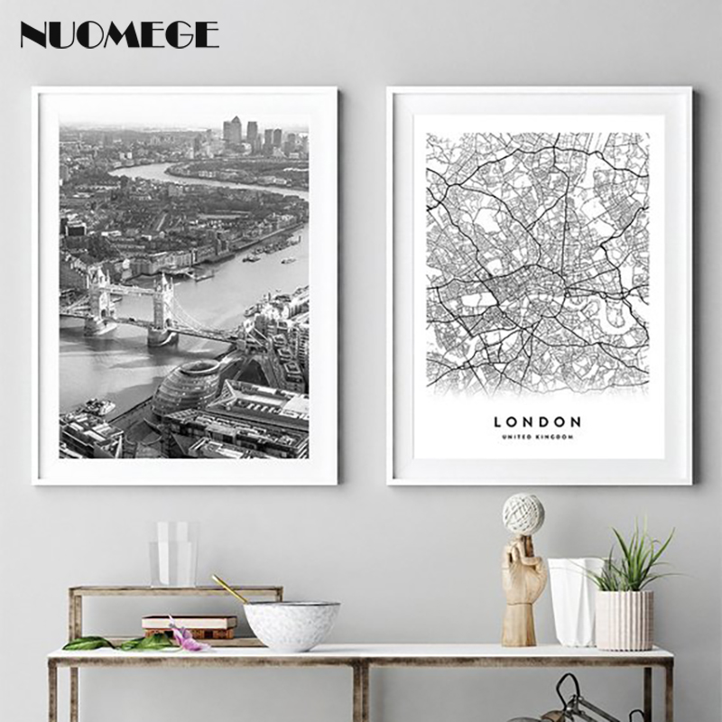 London Map poster Print City Black White Canvas Art Painting Wall United Kingdom Poster Decorative Pictures for Living Room