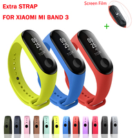 Free Film Bracelet for Xiaomi Mi Band 3 Sport Strap watch Silicone wrist strap /Chargering cable for Mi band3 Strap 12Colors Smart Wristbands