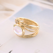 BOAKO Vintage Jewelry Three Stone Ring Retro Round Colorful Opal Rings for Women Gold Color Finger Rings Bijoux Size 6 - 10 B40