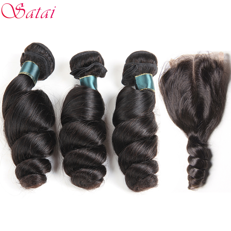SATAI Hair Brazilian Loose Wave 3 Bundles With Closure Middle Part 100% Human Hair Bundles Natural Color Non-remy Hair Extension
