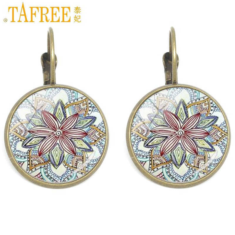TAFREE 2017 Fashion Yoga earrings jewelry Mandala earcuff For Women oorbellen ear cuff clips on earrings Buddhism Yoga CT385
